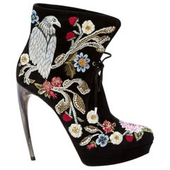 Alexander McQueen hand-painted and embroidered ankle boots