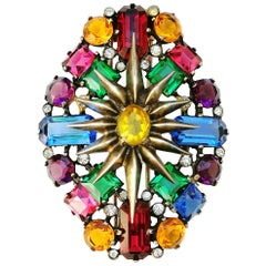 Eisenberg Sterling silver multi coloured paste large fur clip, 1940s