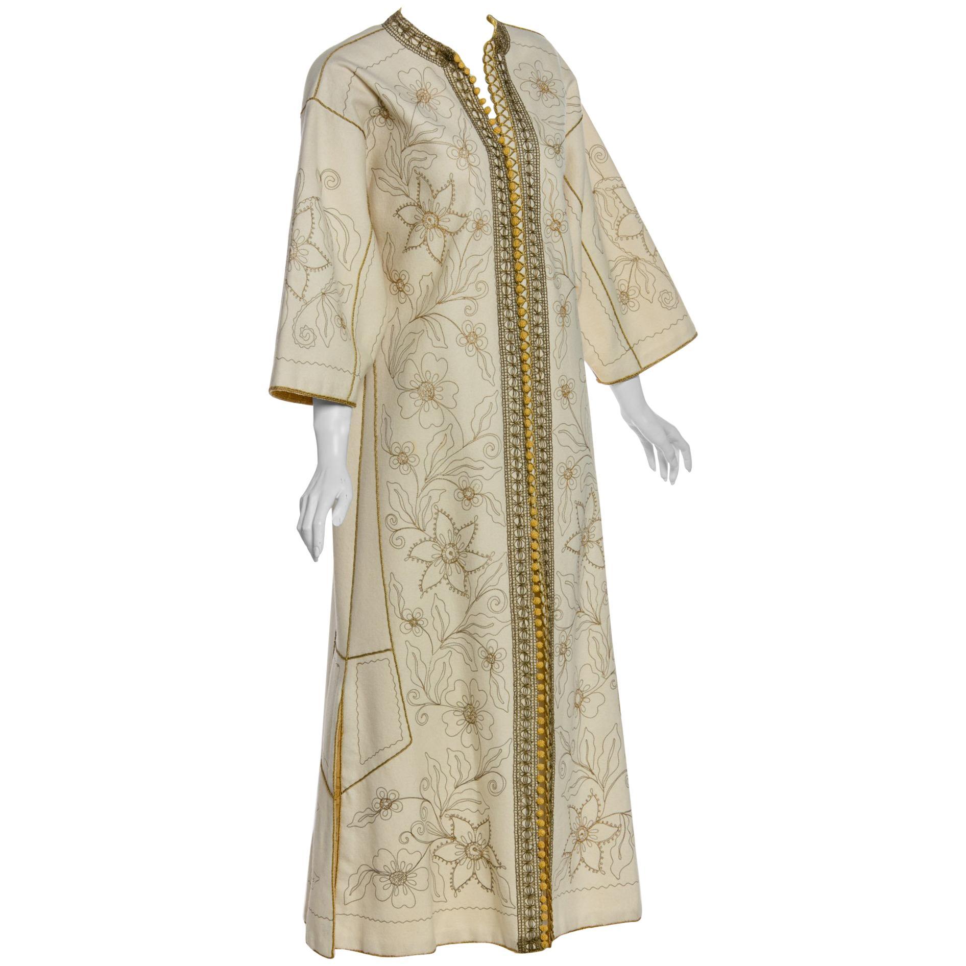 Vintage Ivory Gold Floral Embroidered Vintage Caftan Dress