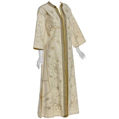 Vintage Ivory Gold Floral Embroidered Vintage Caftan Dress