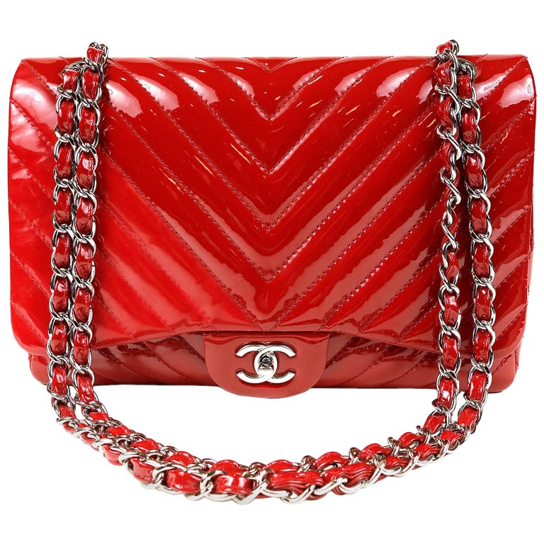 5c829bbb2321 Chanel Red Patent Leather Jumbo Chevron Flap Bag with Silver Hardware For  Sale
