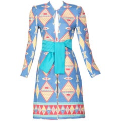 Mary McFadden Blue Silk Quilted Belted Duster Coat, 1980s