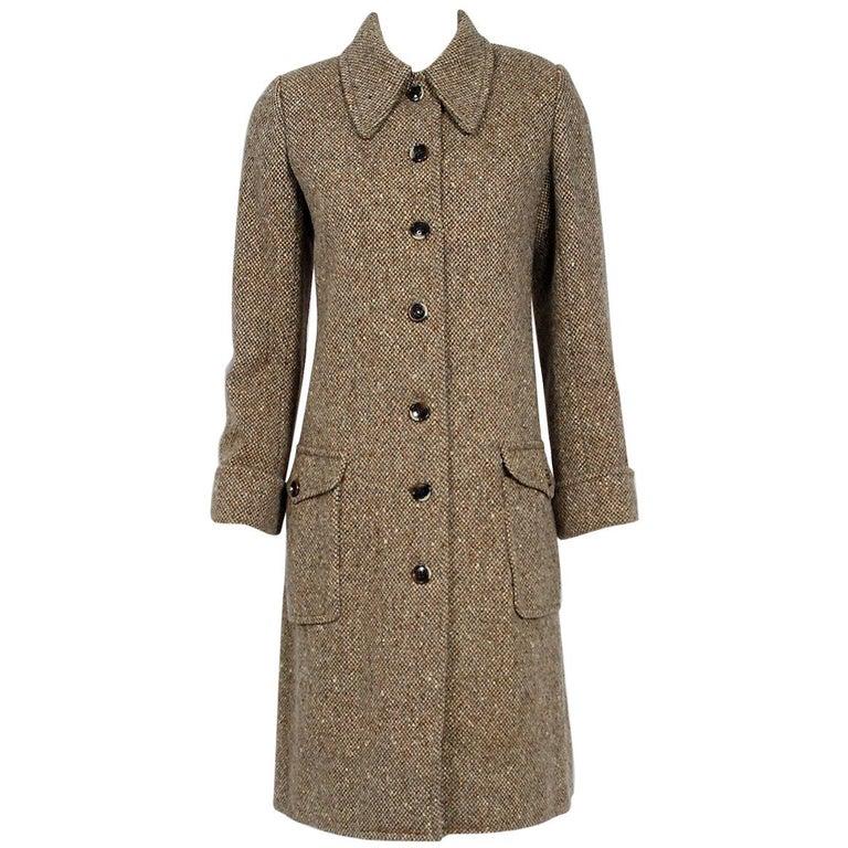 1973 Yves Saint Laurent Rive Gauche Autumn Brown Tweed Wide-Pocket Tailored Coat