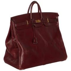 Hermes Bonwit Teller Vintage Burgundy Travel Birkin Bag, 1970s