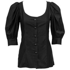 1980's YSL/Saint Laurent Black Cotton Peasant Style Blouse