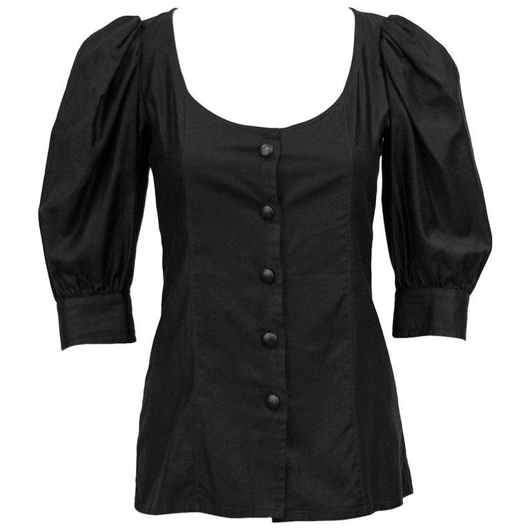 05225986b07303 1980's YSL/Saint Laurent Black Cotton Peasant Style Blouse at 1stdibs