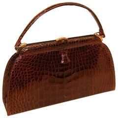 Architectural Classic Brown Alligator Kelly Style Handbag Lucille de Paris