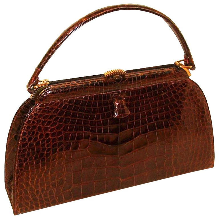 1b94a0165fb7 Architectural Classic Brown Alligator Kelly Style Handbag Lucille de Paris  For Sale at 1stdibs