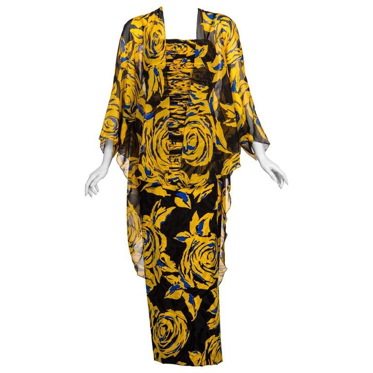 Valentino Yellow Floral Print Draped Black Silk Fishtail Gown Shawl, 1970s