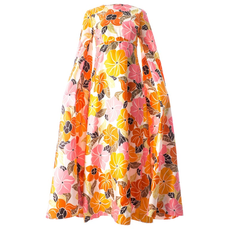 Satin floral maxi dress with maxi bell sleeves, circa 1960s