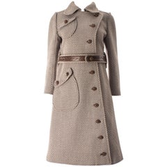 Courreges Couture Brown and cream Herringbone wool and leather coat, circa 1969
