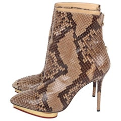 Charlotte Olympia Deborah beige and brown Python Ankle Boots