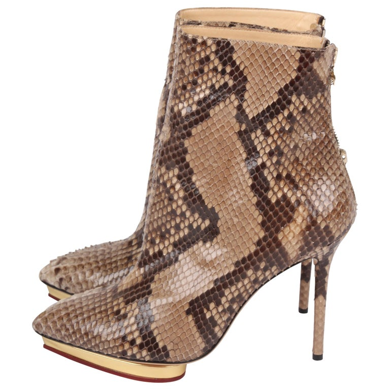 963ffded45c Charlotte Olympia Deborah beige and brown Python Ankle Boots