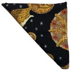 Hermes Scarf Le Roy Soleil Silk in Black