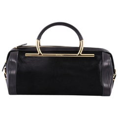 Salvatore Ferragamo Gancini Handle Bowler Bag Pony Hair and Leather Large