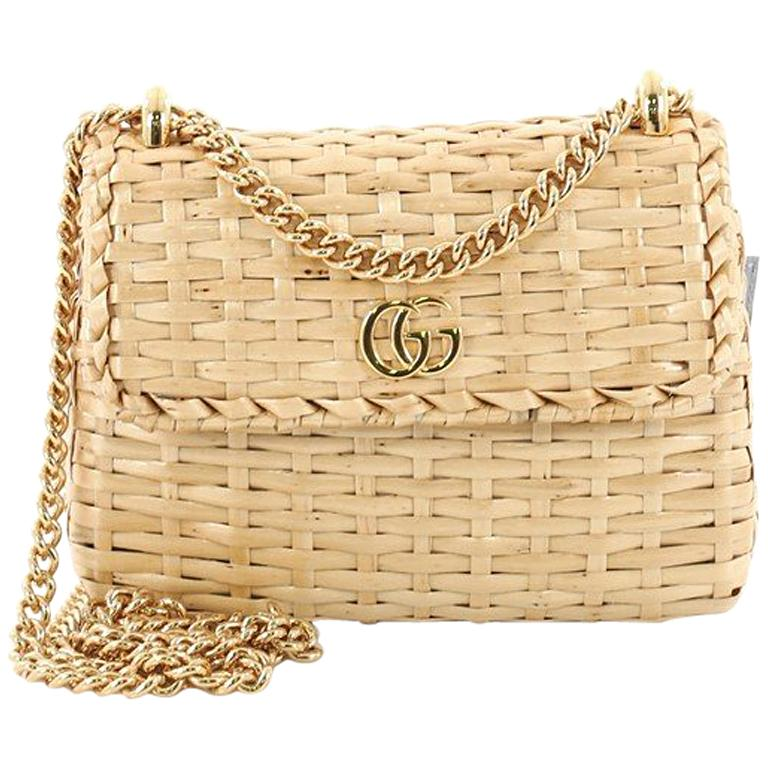 0705c70e3 Gucci Cestino Flap Shoulder Bag Wicker Mini at 1stdibs