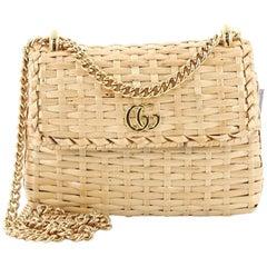 Gucci Cestino Flap Shoulder Bag Wicker Mini