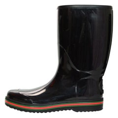 Gucci Black Rain Boots W/ Logo And Green & Red Detailing Mens Sz 11