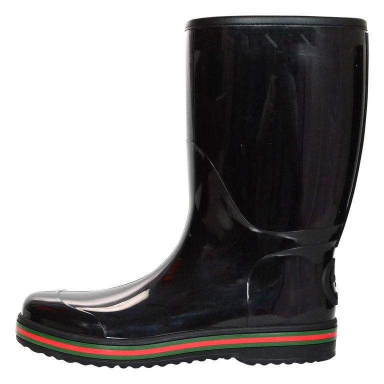 5a319da43 Gucci Black Rain Boots W/ Logo And Green & Red Detailing Mens Sz 11 For