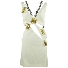 Fausto Puglisi Off White Cut Out Dress with Medallions - Size IT 42