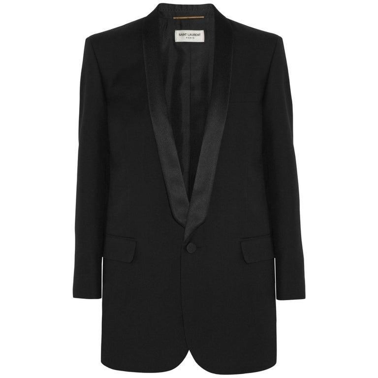 Saint Laurent Satin-Trimmed Wool Gabardine Tuxedo Jacket For Sale
