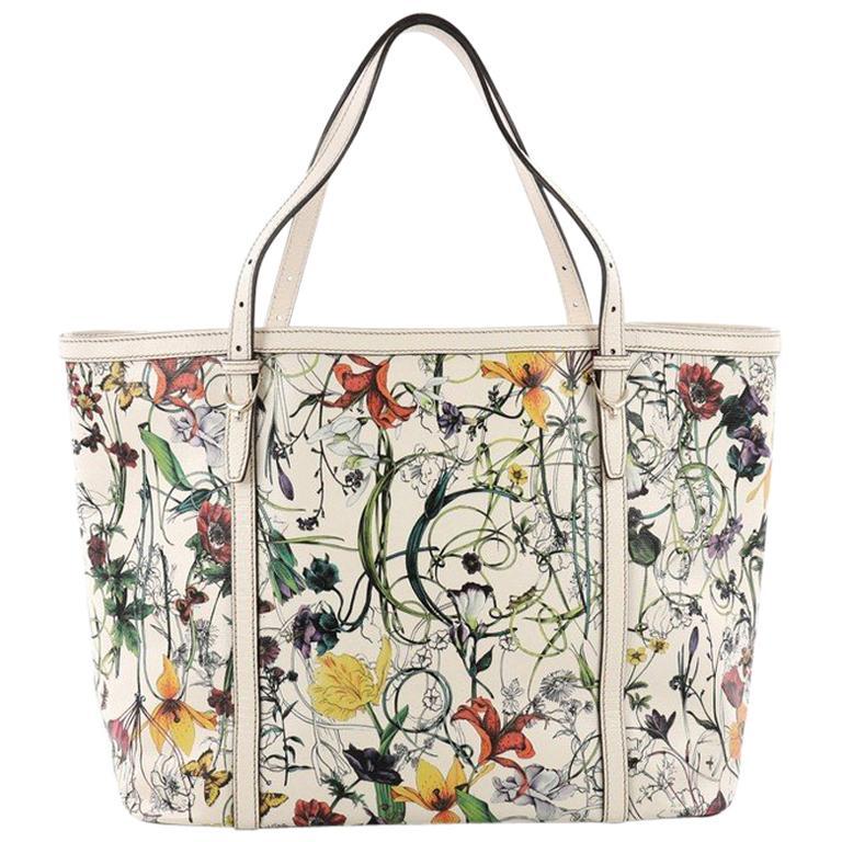 0aa4476edf37 Gucci Nice Tote Floral Printed Leather Medium at 1stdibs