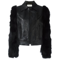 Saint Laurent Leather Jacket with Contrast Fox Fur Sleeves