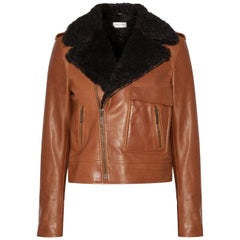Saint Laurent Shearling-Trimmed Leather Biker Jacket