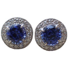 18K White Gold Earrings 2.42 carats of Chatham Sapphire & 0.38 carats of Diamond