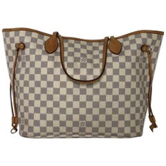 Louis Vuitton Damier Azur Neverfull MM Tote Handbag