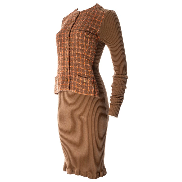 Chanel rib-knit dress with attached boucle checked jacket, A / W 1995  For Sale
