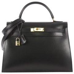 Hermes Kelly Handbag Black Box Calf with Gold Hardware 32