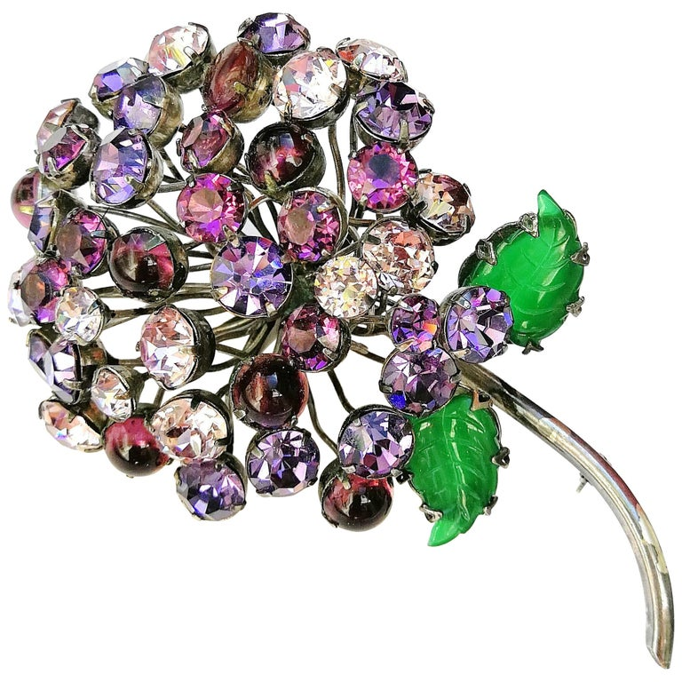 f5a8312c7 CIS France Very large coloured paste dandelion brooch, 1960s For Sale