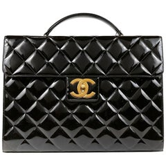 Chanel Black Patent Leather Vintage Briefcase