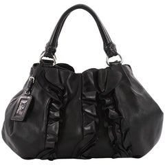 Prada Ruffle Shoulder Bag Leather Large
