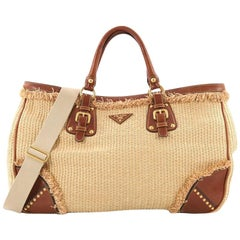 Prada Paglia Tote Raffia with Leather Large