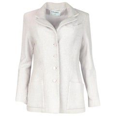 Chanel Light Pink Tweed Button Down Blazer Jacket Sz 12