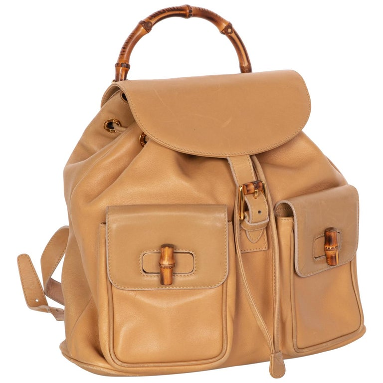 b1d1c4266e9 Gucci Vintage Leather and Bamboo Handle Backpack For Sale at 1stdibs