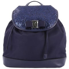 Salvatore Ferragamo Bow Flap Backpack Nylon with Sequins and Leather Medium