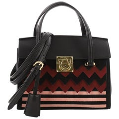Salvatore Ferragamo Mara Tote Zigzag Suede and Leather Mini