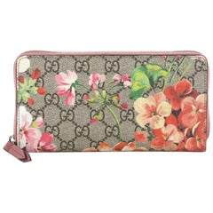 Gucci Zip Around Wallet Blooms Print GG Coated Canvas