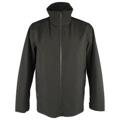 Prada Black Solid Gore-Tex Layered High Collar Jacket