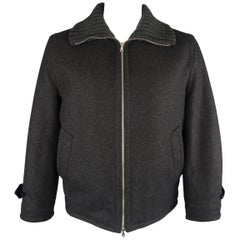 Dolce & Gabbana Charcoal Wool Blend Cable Knit Collar Jacket