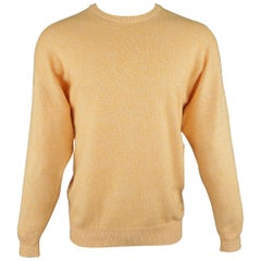 Neiman Marcus Yellow Heather Cashmere / Cotton Pullover