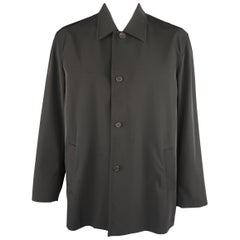 Prada Black Solid Polyester Blend Twill Pointed Collar Coat
