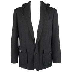 Ralph Lauren Black Herringbone Cashmere Notch Lapel Hooded Sport Coat Jacket