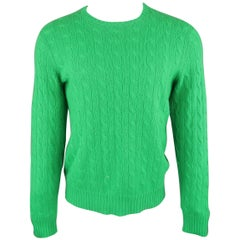 Ralph Lauren Green Cable Knit Cashmere Sweater