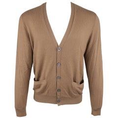 Ralph Lauren Brown Solid Cashmere V-neck button Cardigan