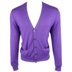 Ralph Lauren Purple Solid Cashmere V-neck button Cardigan