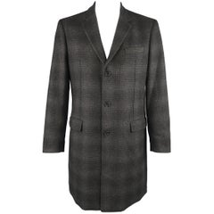 Michael Kors Black and Grey Shadow Plaid Wool Blend Notch Lapel Coat